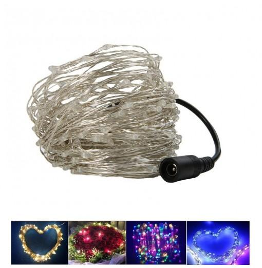 1PC 30M/98.4FT Waterproof Silver Wire 300LEDS LED String Lights for Festival Christmas with Power Adapter AC100-240V