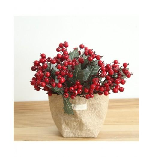 Vivid Little Red Berries Artificial Flower Christmas Decorations