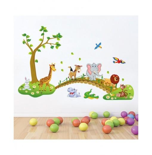 Forest Animals PVC Wall Sticker Cartoon for Kids Rooms Decor Bedroom