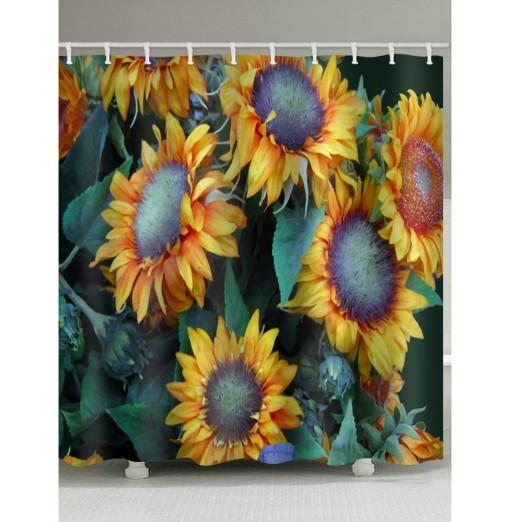 Sunflowers Print Waterproof Bathroom Shower Curtain