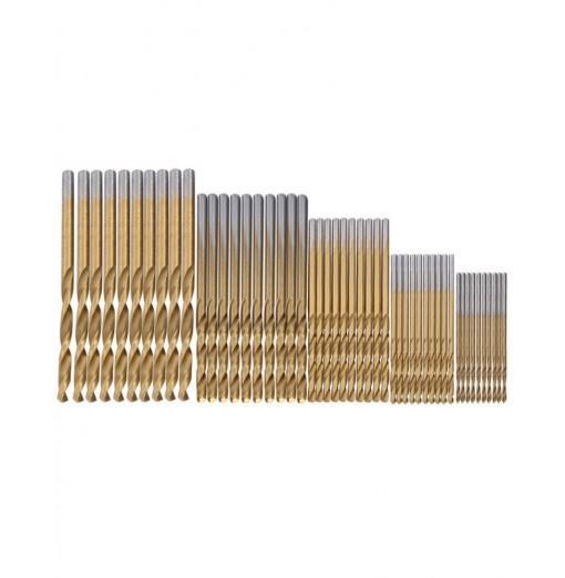 50pcs High-speed Steel Twist Drill Titanium Coated Woodworking Metal Tool