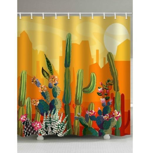 Sunset Cactus Print Waterproof Bathroom Shower Curtain