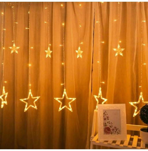 2M Romantic Fairy Star Led Curtain String Light EU 220V Xmas Garland Light for Wedding Party Holiday Decor