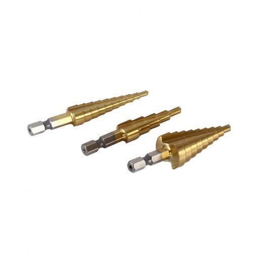 3pcs HSS 4241 Step Cone Drill Bit Set Hex Shank Hole Cutter