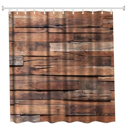Hardwood Flooring 6 Polyester Shower Curtain Bathroom High Definition 3D Printing Water-Proof