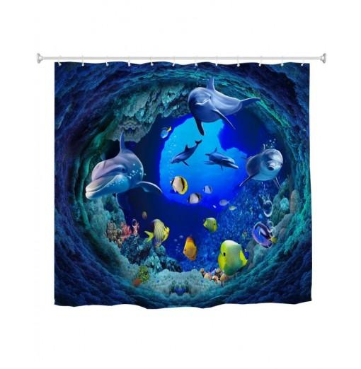 Tunnel Fish Water-Proof Polyester 3D Printing Bathroom Shower Curtain