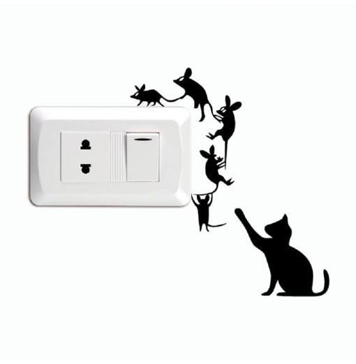 Cat-96 Creative Cat Catch Mice Switch Sticker Funny Cartoon Animal Vinyl Wall Stickers