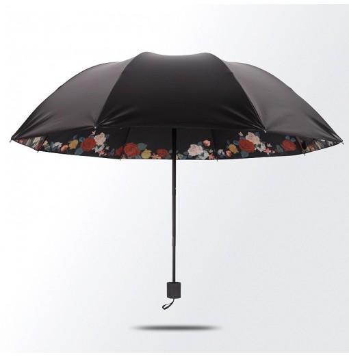 DIHE Japanese Style Black Floating Flower Umbrellas Ultraviolet-Proof