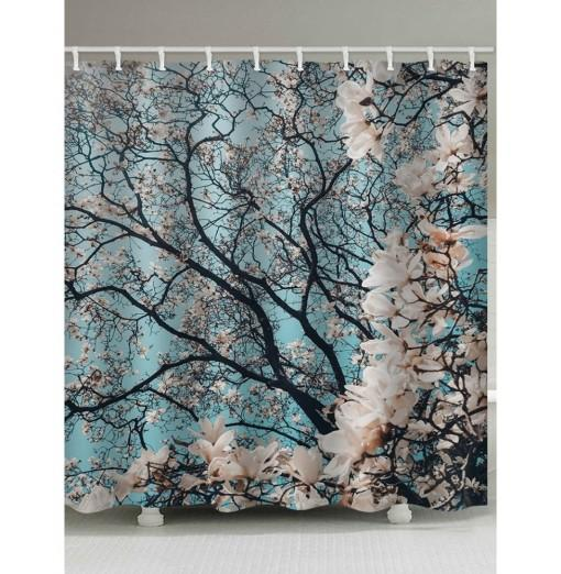 Flowers Tree Print Shower Curtain