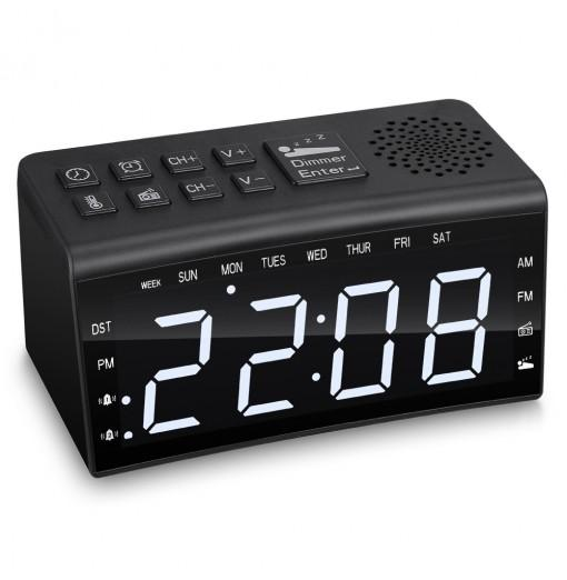 RA002 Digital Radio Clock Dual Alarms Temperature Snooze Day Time Dimmable Backlit 6.5-inch LED Screen