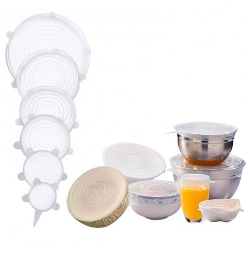6PCS Food Wraps Reusable Silicone Fresh Keeping Sealed Covers