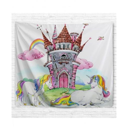 Castle Unicorn 3D Printing Home Wall Hanging Tapestry for Decoration