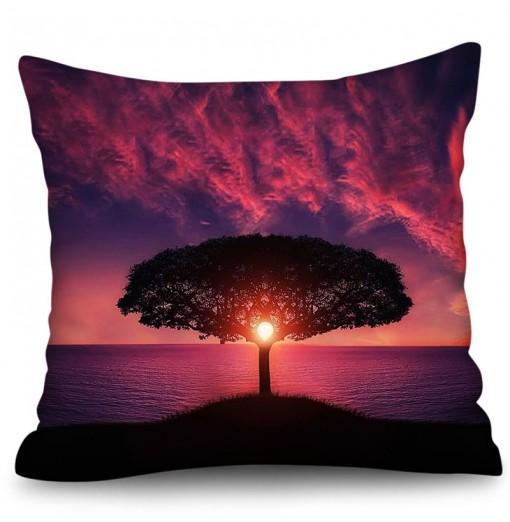 3D Digital Printing Polyester Hemp Pillowcase Square Beach Holiday Series Sofa Cushion Cover