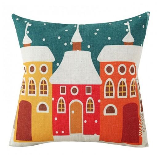 Christmas House Printing Pillow Set