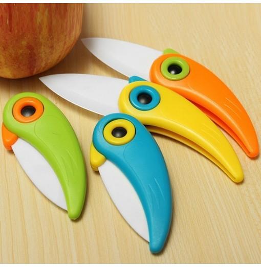 Cute Bird Pattern Folding Cutlery Ceramic Fruit Knife Outdoor Activities Camping Home Kitchen 2017