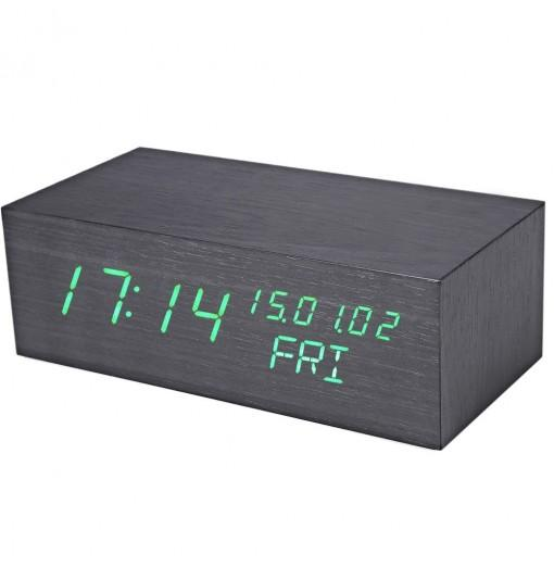 Creative Wooden LED Clock Temperature Display Perpetual Calendar Alarm