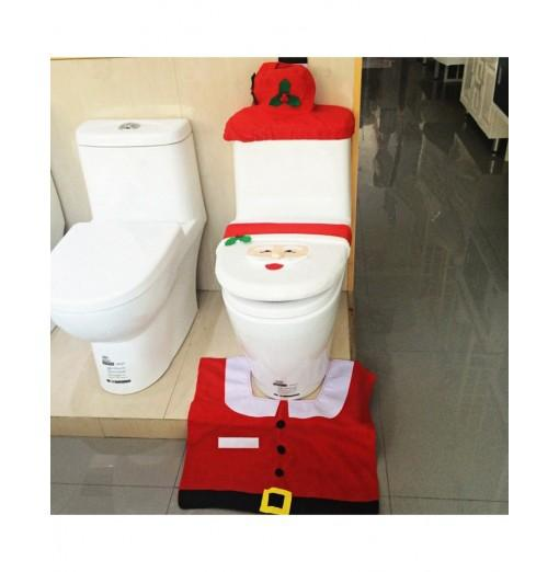 Christmas Santa Claus Toilet Set of 3 Toilet Seat Cover Rug Tank Cover Tissue Box Cover
