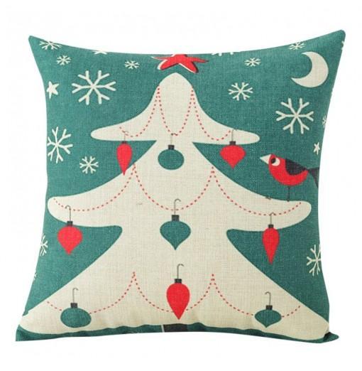 Hot Linen Christmas Tree printed Pillow Se