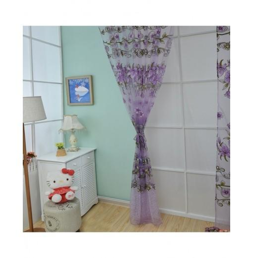1m x 2m Floral Printed Tulle Voile Wall Room Divider Curtain