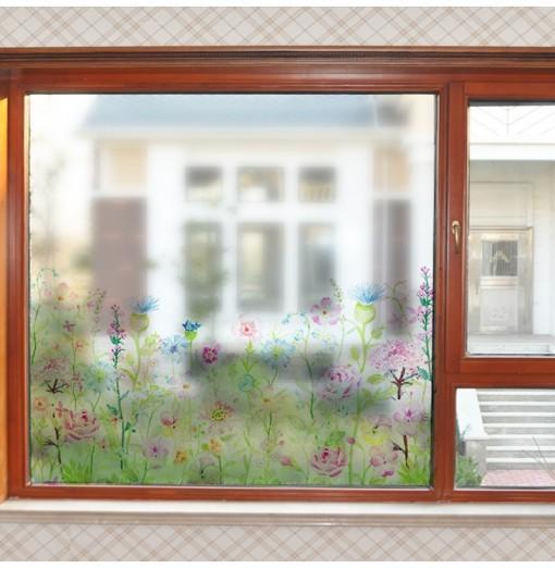 Removable Fashion Flowers Pattern PVC Window Film Wall Sticker Matte