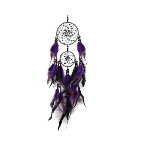 Purple Home Decoration Retro Feather Dream Catcher Circular Feathers