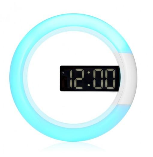 TS - S24 Remote Control Digital RGB LED Mirror Wall Alarm Clock Thermometer