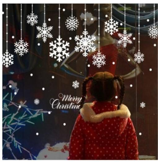 Christmas Snow Hanging Wall Pasted Bedroom Shop Window Glass Snowflake Backgroun