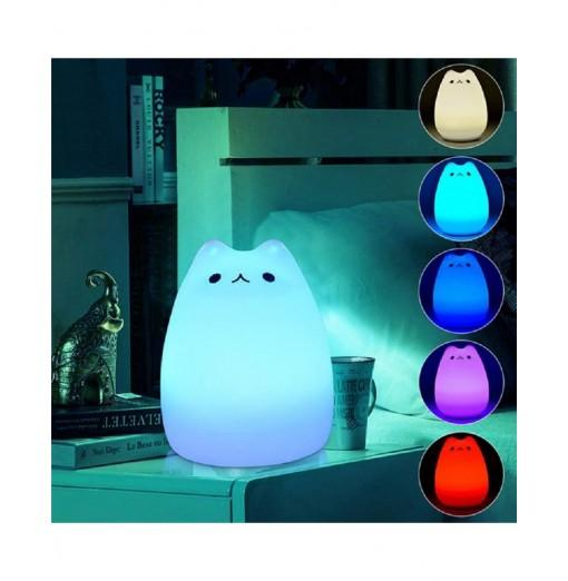 Touch Sensor LED Night Light USB Colorful Cute Cat Silicone Bedroom Beside Lamp
