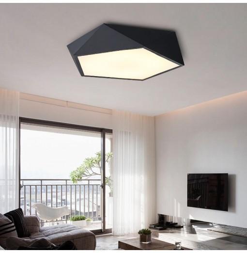 Ever-Flower Max 24W Modern Led Flush Mount Ceiling Light for Living Room Bedroom Painted Finish Black