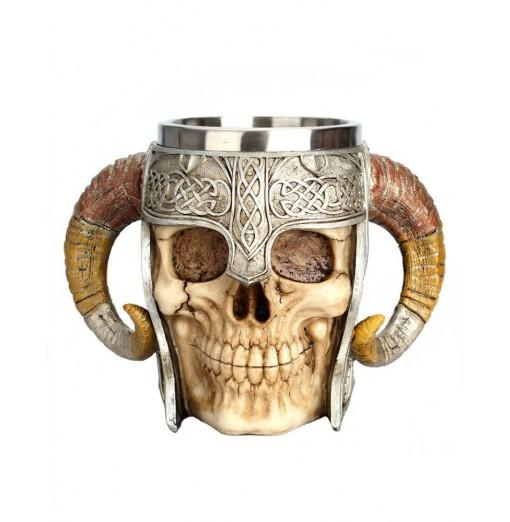 Stainless Steel Skull Mug Horn Warrior Beer Stein Halloween Bar Coffee Tea Cup