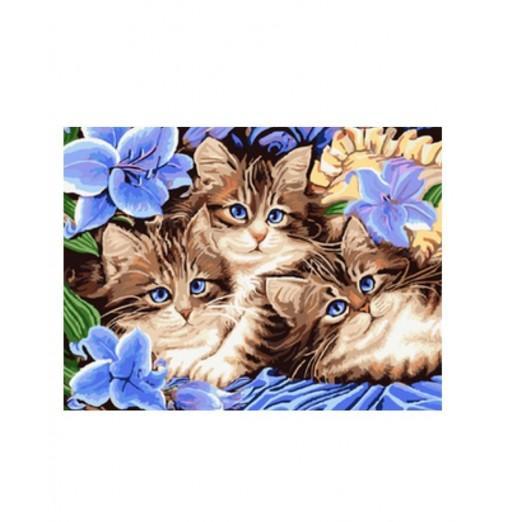 Three Kittens DIY Digital Oil Hand Painting Wall Decor
