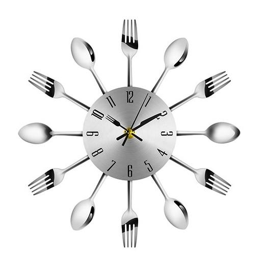 Stainless Steel Metal Kitchen Cutlery Wall Clock
