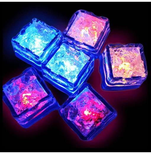 12pcs LED Ice Cube Square for Wedding Party Bar Club Champagne Tower Holiday Decorat