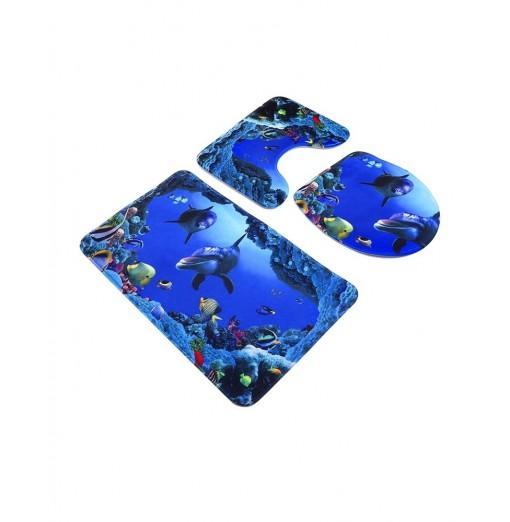 3pcs Blue Ocean Style Pedestal Rug + Toilet Cover + Bath Mat