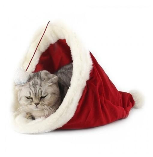 Christmas Hat Pet Nest / Bed for Cat
