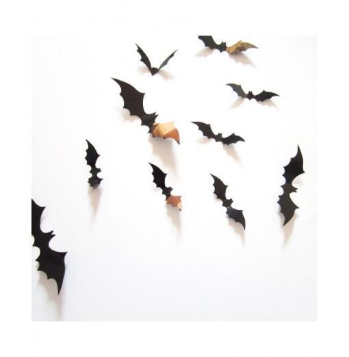 YEDUO 12pcs Black 3D DIY PVC Bat Wall Sticker Decal Home Halloween Decoration