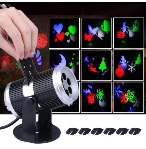 Figure 12 Card Projection Lamp Led Snowflake Projection Lamp Halloween Christmas