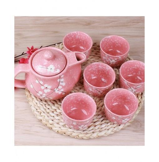 7PCS Sweet Floral Hand Painted Ceramic Teapot Set