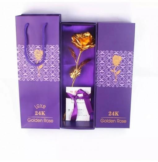 Day Gift 24K Gold Foil Artificial Rose Flower Valentine's Day Birthday Gift
