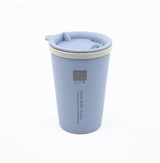 DIHE Wheat Straw Double Deck Open Cup Convenient Cute Heat Preservation
