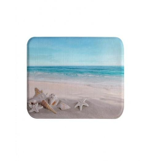 Beach Shells Super Soft Non-Slip Bath Door Mat Machine Washable Quickly Drying