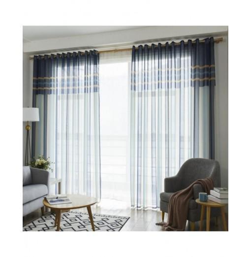 2pcs Simple Stripe Sheer Voile Curtains