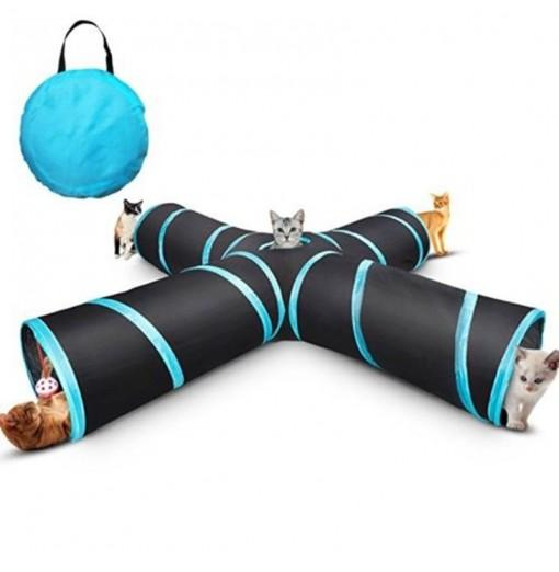 New Cat Tunnel Design Collapsible 4-WAY Pet Toy Tunnel Toy with Crinkle