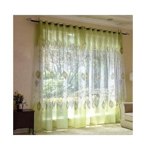 2pcs Burnt-Out Window Screening Voile Curtains
