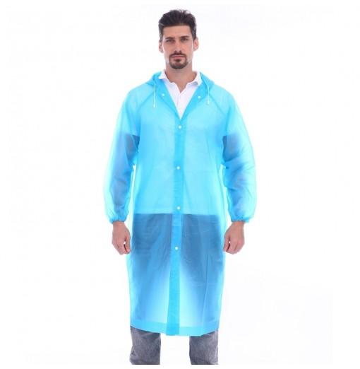 Adult lightweight PEVA raincoat with elastic sleeves and drawstring hoods
