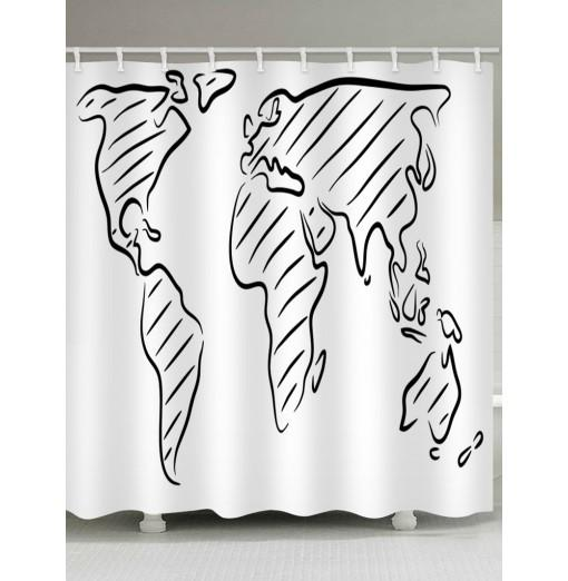 Map Print Waterproof Shower Curtain