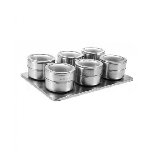 6pcs Stainless Steel Magnetic Seasoning Bottle