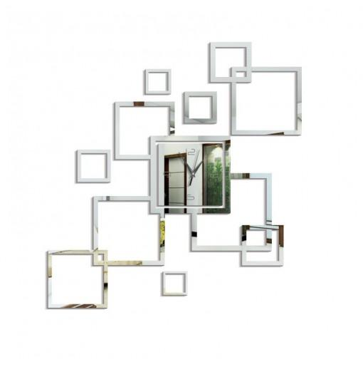 Mirrored Acrylic Mute Art Wall Clock Diy Square