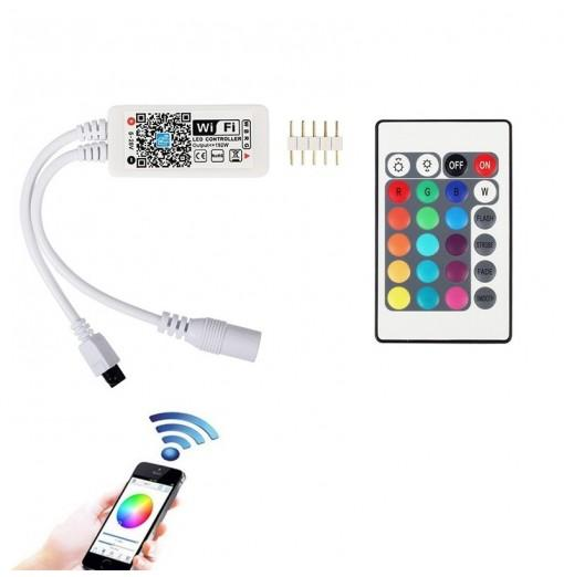 Mini Wifi Controller IR 24Keys Remote For RGBW LED Strip Light DC5-28V