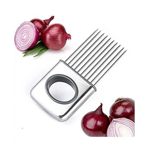 Onion Holder Slicer Potato Tomato Lemon Aid Cutting Chopper Fork Stainless Steel